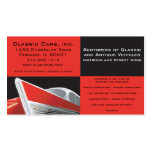 classic car business card, 1957 chevy, red and