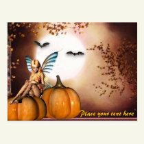 customizable Autumn Halloween Fairy postcard