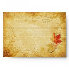 Customizable Autumn Leaves Wedding A-7 Envelope