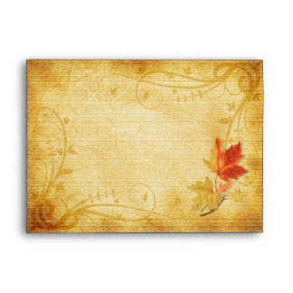 Customizable Autumn Leaves Wedding A-7 Envelope