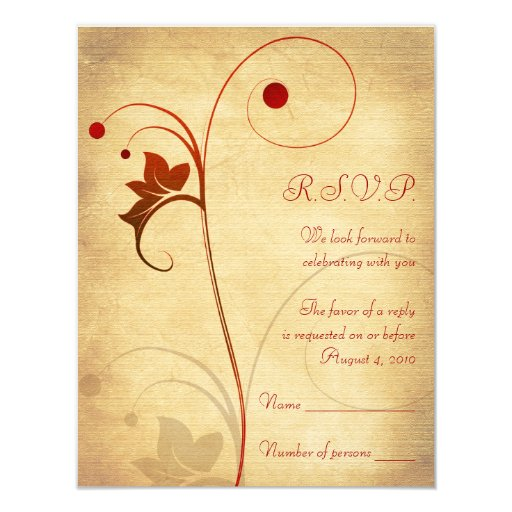 "Customizable Autumn Wedding RSVP Reply Card 4.25"" X 5.5"" Invitation Card"