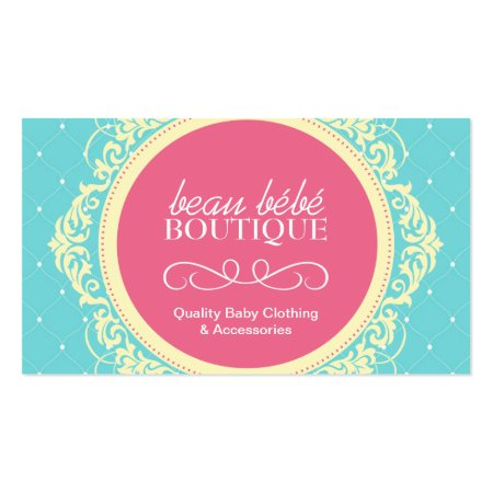 Whimsical Pink and Aqua Blue Baby Store Calling Card Template