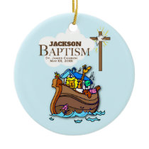 Customizable, Baby Boy Baptism Noah's Ark Ceramic Ornament