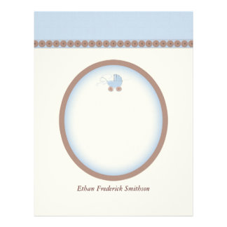 Customizable Baby Carriage Paper - Blue Letterhead