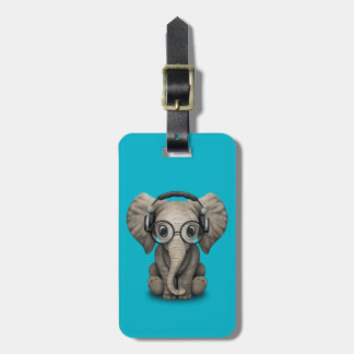 Customizable Baby Elephant Dj with Headphones Bag Tag