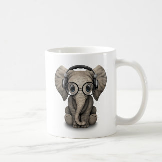 Customizable Baby Elephant Dj with Headphones Coffee Mug