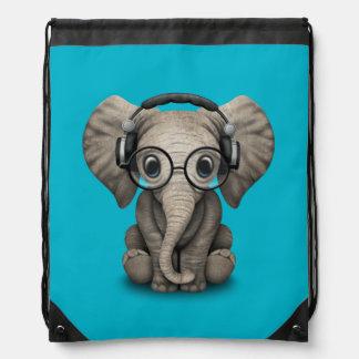 Customizable Baby Elephant Dj with Headphones Drawstring Backpack