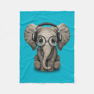 Customizable Baby Elephant Dj with Headphones Fleece Blanket