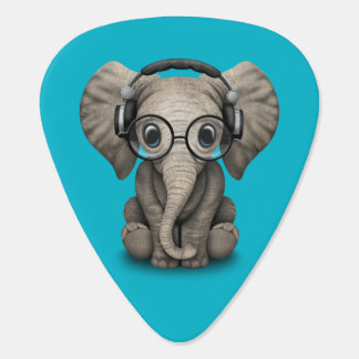 Customizable Baby Elephant Dj with Headphones Guitar Pick