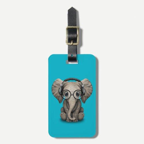 Customizable Baby Elephant Dj with Headphones Luggage Tag