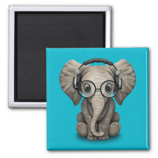 Customizable Baby Elephant Dj with Headphones Magnet