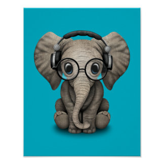 Customizable Baby Elephant Dj with Headphones Poster