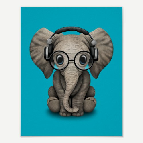 Customizable Baby Elephant Dj with Headphones Poster