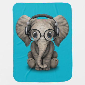 Customizable Baby Elephant Dj with Headphones Swaddle Blanket