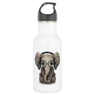 Customizable Baby Elephant Dj with Headphones Water Bottle
