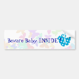 Customizable Baby feet with butterfly Bumper Sticker