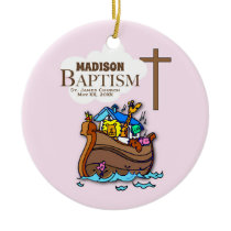 Customizable, Baby Girl Baptism Noah's Ark Ceramic Ornament