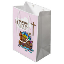 Customizable, Baby Girl Baptism Noah's Ark Medium Gift Bag