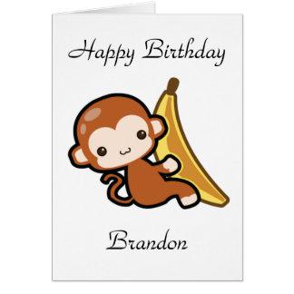 Customizable Baby Monkey Whit A Banana Birthday Card