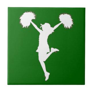 Customizable Background Cheerleader Cheerleading Ceramic Tile
