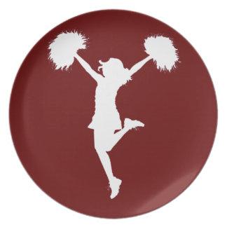 Customizable Background Cheerleader Cheerleading Dinner Plate