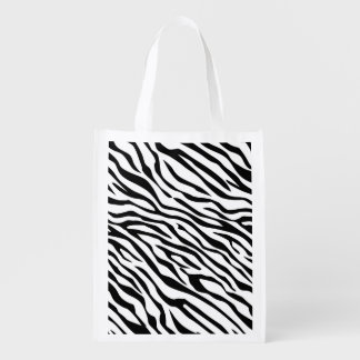 Customizable Background Color Zebra Grocery Bags