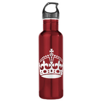 Customizable Background Keep Calm Crown Water Bottle