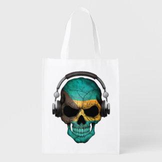 Customizable Bahamas Dj Skull with Headphones Market Totes