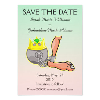 Customizable Ball And Chain Save the Date Card