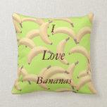 Customizable Bananas with text Throw Pillows