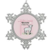 Customizable, Baptism, Pink, Girl, Lamb Snowflake Pewter Christmas Ornament