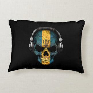 Customizable Barbados Dj Skull with Headphones Accent Pillow