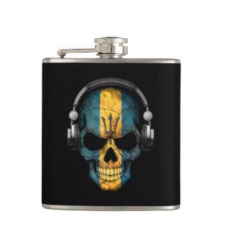 Customizable Barbados Dj Skull with Headphones Hip Flask