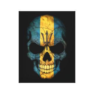 Customizable Barbados Flag Skull Canvas Print