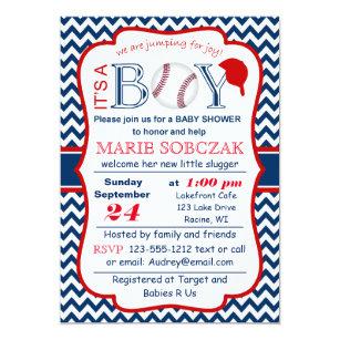 Baseball themed Baby Shower Invitations