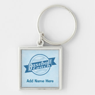 Customizable Baseball Coach Keyring Silver-Colored Square Keychain