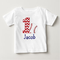 Customizable Baseball First birthday shirt 1 year