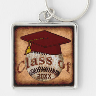 Customizable Baseball Graduation Gift Ideas Silver-Colored Square Keychain