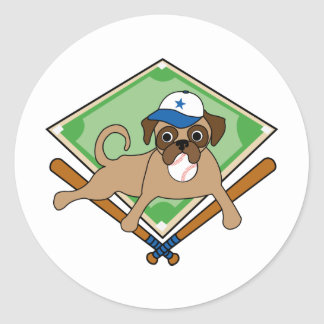 Customizable Baseball Pug Gifts and Tees Classic Round Sticker