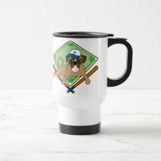Customizable Baseball Pug Gifts and Tees 15 Oz Stainless Steel Travel Mug