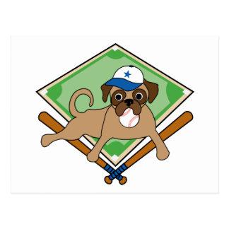 Customizable Baseball Pug Gifts and Tees Postcard