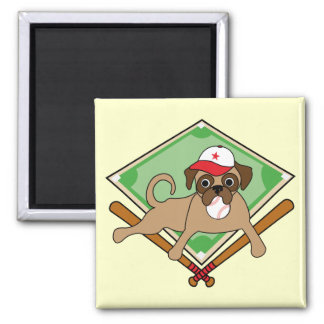 Customizable Baseball Pug Magnets (red)
