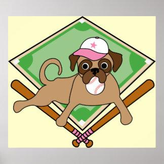 Customizable Baseball Pug Posters - pink