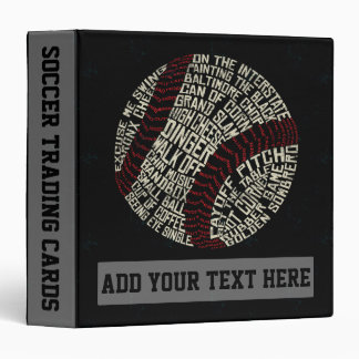 Customizable Baseball Slang Calligram Ring Binder