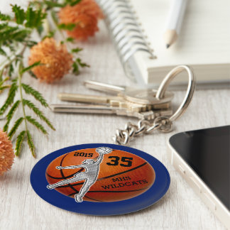 Customizable Basketball Team Gift Ideas for Girls Keychain