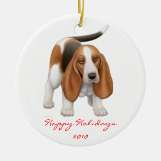 Customizable Basset Hound Holiday Ornament