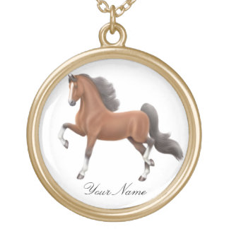 Customizable Bay Saddlebred Horse Necklace