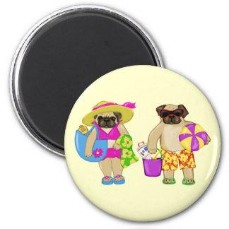 Customizable Beach Pug Magnets