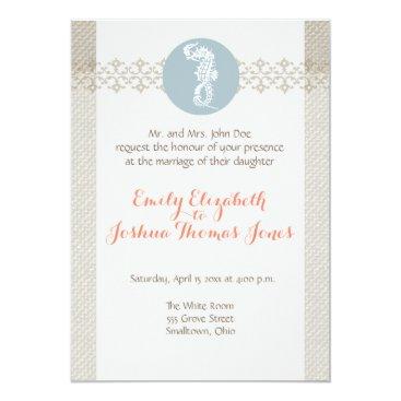 Beach Themed Customizable Beach Wedding Invitation Template