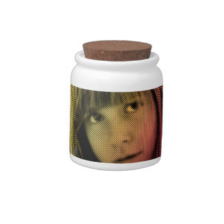 Customizable beautiful girl with color splash candy jar